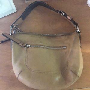 Coach tan leather hobo style purse